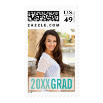 Modern Turquoise Aqua Graduation Photo Postage