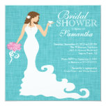 Modern Turquoise Blue Bride Wine Bridal Shower 5.25x5.25 Square Paper Invitation Card