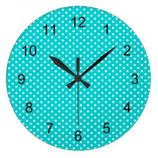 modern Turquoise blue polka dot nursery bedroom Large Clock