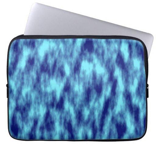 Modern turquoise blue tie dye laptop sleeve