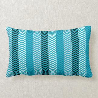 Modern Turquoise Blue Variegated Chevron Stripes Lumbar Pillow