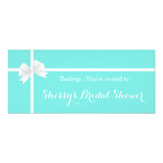 Modern Turquoise Bridal Shower Box with Bow Card