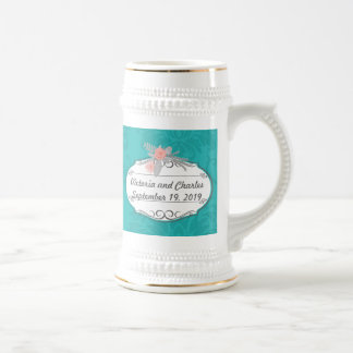 Modern Turquoise  Chartreuse Damask Wedding Beer Stein