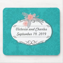 Modern Turquoise  Chartreuse Damask Wedding Mouse Pad