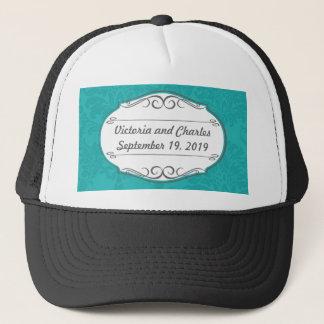 Modern Turquoise  Chartreuse Damask Wedding Trucker Hat