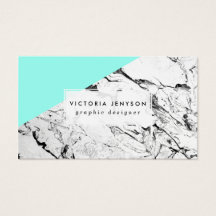 Modern turquoise color block white marble pattern business card