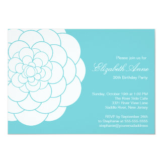 "Modern Turquoise Dahlia Bloom Birthday Party 5"" X 7"" Invitation Card"