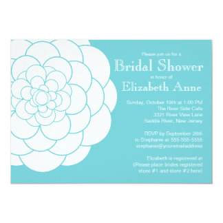 Modern Turquoise Dahlia Bloom Floral Bridal Shower Card
