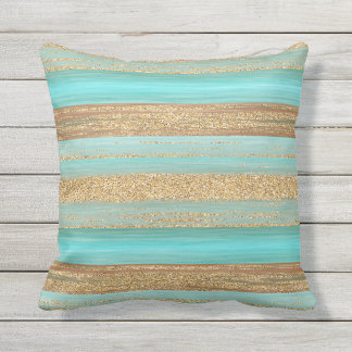 Modern Turquoise Faux Gold Glitter Stripes Pattern Outdoor Pillow