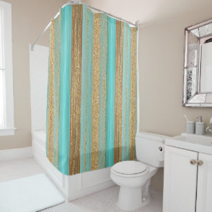 Modern Turquoise Faux Gold Glitter Stripes Pattern Shower Curtain