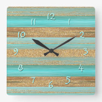 Modern Turquoise Faux Gold Glitter Stripes Pattern Square Wall Clock