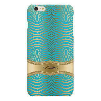 Modern Turquoise & Faux Gold Zebra Stripes Pattern Glossy iPhone 6 Plus Case