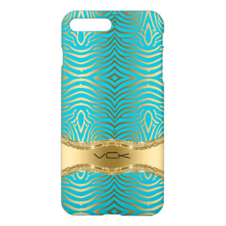 Modern Turquoise & Faux Gold Zebra Stripes Pattern iPhone 8 Plus/7 Plus Case