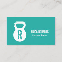 Modern Turquoise Fitness Personal Trainer Monogram Business Card