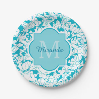Modern Turquoise Floral Girly Monogram With Name 7 Inch Paper Plate