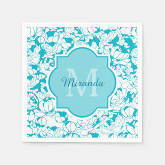 Modern Turquoise Floral Girly Monogram With Name Standard Cocktail Napkin