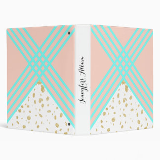 Modern turquoise geometric stripes gold confetti binder