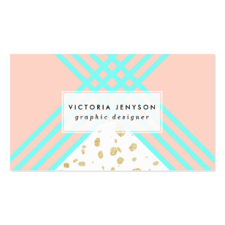 Modern turquoise geometric stripes gold confetti business card
