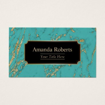 Modern Turquoise & Gold Marble Elegant Business Card