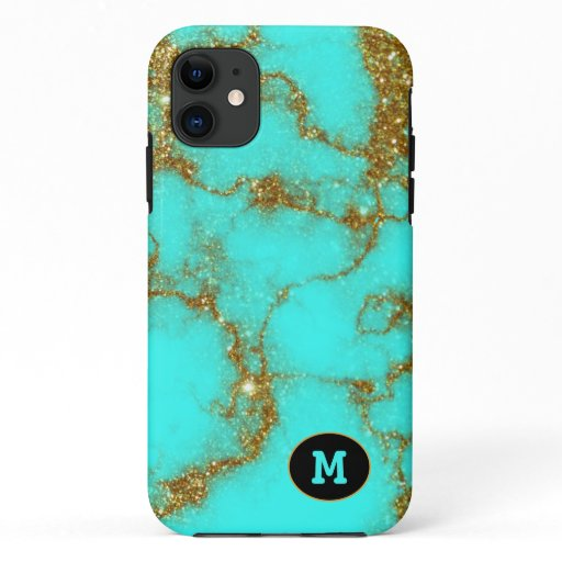 Modern Turquoise & Gold Stone Crystal Personalize iPhone 11 Case