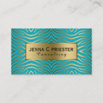 Modern Turquoise & Gold Zebra Stripes Pattern Business Card