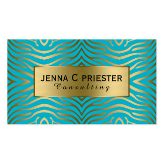Modern Turquoise & Gold Zebra Stripes Pattern Business Card Template