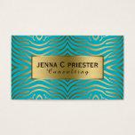 Modern Turquoise & Gold Zebra Stripes Pattern Business Card at Zazzle