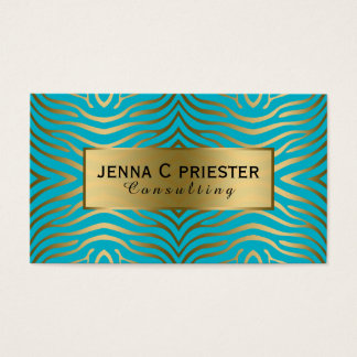 Modern Turquoise & Gold Zebra Stripes Pattern Business Card
