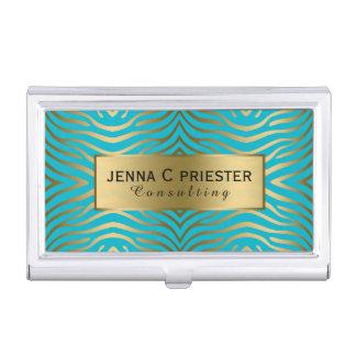 Modern Turquoise & Gold Zebra Stripes Pattern Business Card Holder