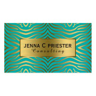 Modern Turquoise & Gold Zebra Stripes Pattern Double-Sided Standard Business Cards (Pack Of 100)