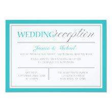 Modern Turquoise Gray Wedding Reception Invitation