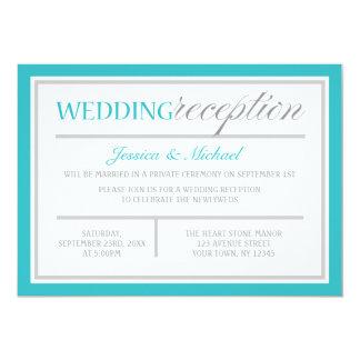 "Modern Turquoise Gray Wedding Reception Invitation 5"" X 7"" Invitation Card"