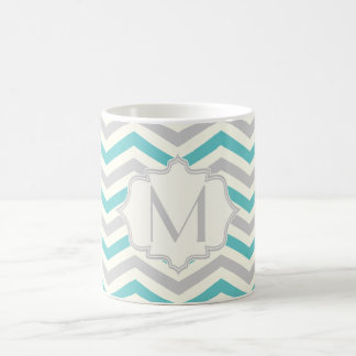 Modern turquoise, grey, ivory chevron pattern classic white coffee mug