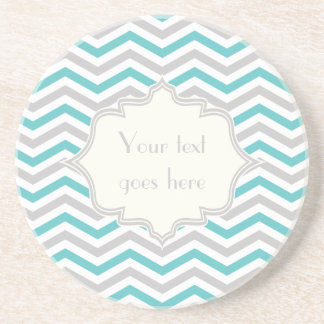 Modern turquoise, grey, ivory chevron pattern beverage coasters