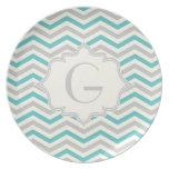 Modern turquoise, grey, ivory chevron pattern dinner plate