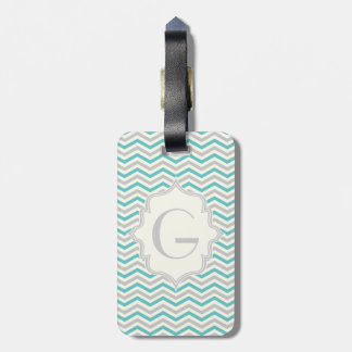 Modern turquoise, grey, ivory chevron pattern luggage tag