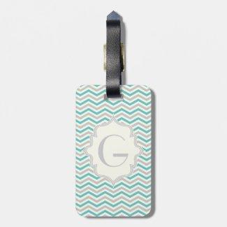 Modern turquoise, grey, ivory chevron pattern travel bag tags