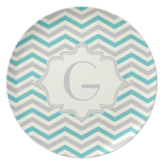 Modern turquoise, grey, ivory chevron pattern dinner plates
