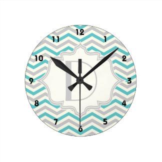 Modern turquoise, grey, ivory chevron pattern round clock
