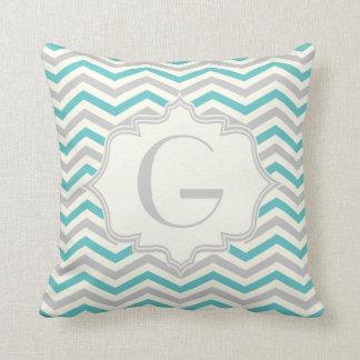 Modern turquoise, grey, ivory chevron pattern throw pillow