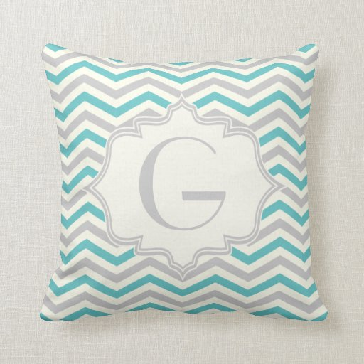 Modern turquoise, grey, ivory chevron pattern throw pillows Zazzle
