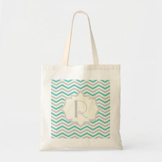 Modern turquoise, grey, ivory chevron pattern tote bag