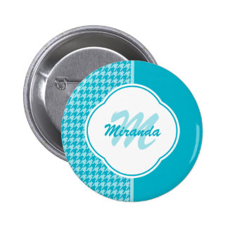 Modern Turquoise Houndstooth Monogram and Name 2 Inch Round Button