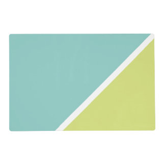 Modern Turquoise lime green color block pattern Placemat