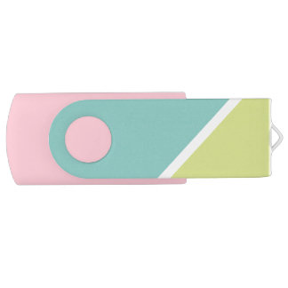 Modern Turquoise lime green color block pattern USB Flash Drive