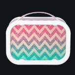 """Modern Turquoise Ombre Chevron Pattern Lunch Box<br><div class=""""desc"""">Zigzag pattern in mint green,  purple and pink glitter.A stylish chevron pattern design. The perfect cool gift idea for her on any occasion.</div>"""