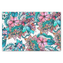 Modern turquoise pink floral watercolor pattern tissue paper