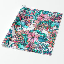 Modern turquoise pink floral watercolor pattern wrapping paper