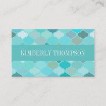 Modern Turquoise Quatrefoil Business Card