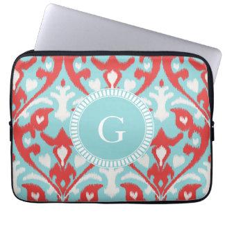 Modern turquoise red ikat tribal pattern monogram laptop sleeve